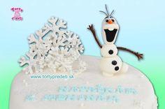 Torta Frozen, snehuliak Olaf detaily, vločky