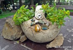 Übertöpfe - Keramik Korb zum Bepflanzen Übertopf  - ein Designerstück von Keramik-Biene bei DaWanda