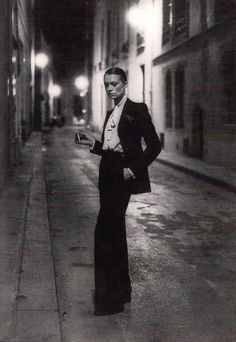 "Woman's ""man"" suit, Yves St Laurent, 1970s.  Reminds me of ""Victor"" in ""Victor/Victoria"""