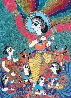 Krishna with Gopis and Cows by Bharti Dayal !!!