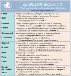 CONFUSING WORDS 5: English words that are often confused or misused.