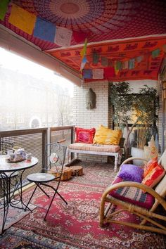 bohemian style apartment balcony