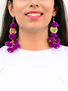 Jazz up your summer look with these handcrafted trendy pom-pom earrings.Size: cm (length)Quantity: 1 pairColor: Purple The materials used for our jewelry ar Bridesmaid Accessories, Bridesmaid Jewelry, Tassel Jewelry, Jewelery, Gota Patti Jewellery, Diwali Party, Indian Bridesmaids, Bohemian Accessories, Indian Earrings