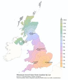 Map of the minimum travel time from London by car Information Visualization, Data Visualization, Star Trek Data, London Transport, Interactive Map, Deep Learning, Data Analytics, Data Science, Pretty Pictures