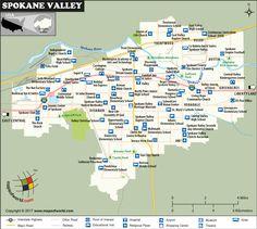 Spokane Valley City Map, Washington Spokane Valley Washington, Spokane River, Washington Map, Austin High School, High School Art, Valley City, Independent School, Central Valley, Going On A Trip