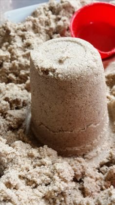 Make your own kinetic sand! Not quite like the real stuff but close it looks like.. can't wait to try it