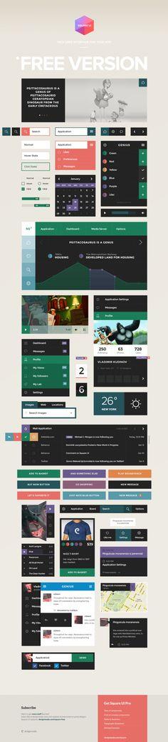 Square UI Free - User Interface Kit #webdesign #design #designer #inspiration #web #ui #userinterface #interface #user #download #free #downloads