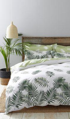 Fern Duvet Cover Set in white and green, reversible.