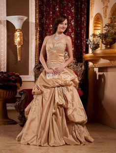 Formal Strapless Beading Ruched Floor Length Satin Lace Ball Gown. This kind of formal ball gown features its strapless neckline.Ruched bottom with beaded decoration.Floor length and made of satin and lace.This dress is available in any other color,and available from size 2 to size 28.Pleas.. . See More Strapless at http://www.ourgreatshop.com/Strapless-C950.aspx