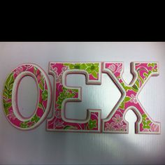 Sorority Lilly Pulitzer letters!...my grand little is so crafty! <3
