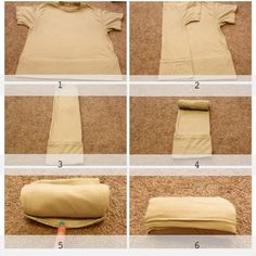 How to fold your hubby's tan tshirts to save space when he packs.   1. Lay tshirt out flat on table/floor then tuck the bottom (about 3in) under.  2. Fold left side 1/3 the way over. 3. Do the same with right side ( tuck sleeve inside). 4. Start to roll from neckline to bottom.  5. See little tabby from folded tshirt in step one. 6. Pull tabby over and around the rolled up tshirt.   Whala!!! Small and no bigger than a can of soda!