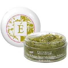 Pear and Poppy Seed Microderm Polisher from Eminence. Organic, cold pressed & hand packaged. My skin GLOWS after this and it smells like summetime. I love.