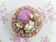 Vintage HATTIE CARNEGIE Signed Pink Glass, Beads, Faux Pearl, Rhinestone Brooch Pin