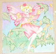 Whimsical Fairy *Hand Painted* Needlepoint Canvas