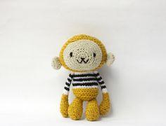 Amigurumi Crochet Monkey, Stuffed Toy - Mustard Yellow Monkey in Black and White Striped Sweater by WereRabbit2006 on Etsy https://www.etsy.com/listing/87191932/amigurumi-crochet-monkey-stuffed-toy