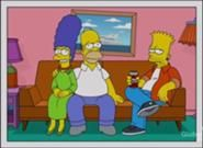 The Simpsons Christmas card, Marge, 56, Homer, 58 and Bart, 32.