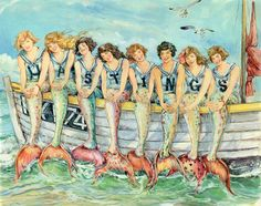 Pisces natives are typically natural observers and more often than not prefer comfortable seats on the sidelines as opposed to front and center positions in the limelight.  (Art: Claire Fletcher, Hastings Mermaids)