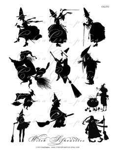 Witch Silhouettes - loving the short haired witch in the middle row