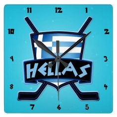 #Greece #Hellas Ice Hockey Flag Logo Clock. Check out this custom made wall clock. $29.95. To see this design on the full range of products, please visit my store: www.zazzle.com/gamefacegear*/ #HockeyClocks #IceHockey