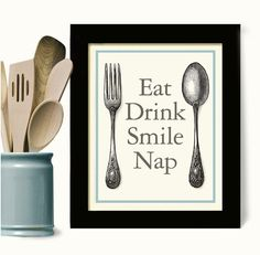 Kitchen Art Print Kitchen Decor Eat Drink Cooking Quote by DexMex