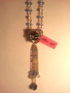 Betsey Johnson NWT Hearts Crystal Cluster Heart Locket Long Pendant Necklace #BetseyJohnson #Pendant Find Trendy Treasure Fashion Trove on eBay!