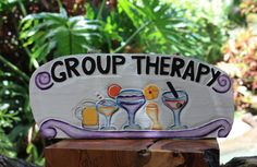 "Cocktail Sign ""GROUP THERAPY"" Very Tropical and tiki bar decor. Perfect for your home decoration or your outdoor living area! 16"" x 6"""