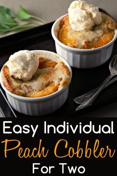 This easy individual Peach Cobbler is delicious and is ready in just one hour with just a few minutes of prep. Serve them in individual ramekins dishes for a fun change and for easy clean up. This recipe makes an impressive and romantic dessert for two. Individual Desserts, Small Desserts, Köstliche Desserts, Dessert Recipes, Layered Desserts, Delicious Desserts, Mini Peach Cobbler, Peach Cobblers, Recipes