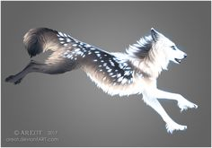 """""""Crescent Song"""" by areot Cute Fantasy Creatures, Mythical Creatures Art, Mystical Animals, Anime Wolf, Fantasy Wolf, Fantasy Art, Wolf Artwork, Creature Drawings, Wolf Pictures"""
