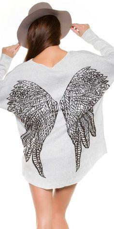 Weißer Pullover mit Flügel und Strass Nieten am Rücken Shirt Top Gr.M
