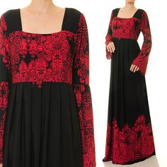 Red Ethnic Print Square Neckline Black Abaya by Tailored2Modesty