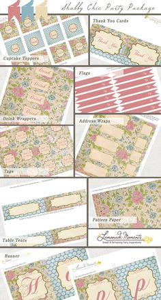 Shabby Chic Printable Party Package INSTANT by LemonadeMoments