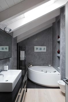 Small Bathroom High Ceiling bathroom , slanted roof bathroom ideas : slanted ceiling white