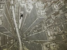 """shutoseiatsu"" 2014. Don't stand too close to Daisuke Tajima's paintings. It's pretty easy to lose yourself. Using just a black ink pen the 22-year old artist creates impossibly intricate and vertigo-inducing birds-eye view paintings of cityscapes. And his paintings aren't small. Many of them are larger than the artist himself."
