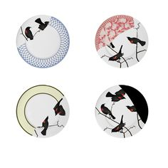 {Seconds Plates Large Set Of 4} Jason Miller - gorgeous red-winged blackbird designs! I want these!!