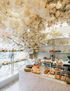 The Cutest Cafes in London - Adventure at Work Restaurant Design, Bakery Design, Cozy Restaurant, Modern Restaurant, Bakery Interior, Cafe Interior Design, Room Interior, Flower Ceiling, Brighton