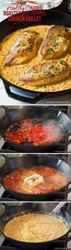 Easy, Healthy Creamy Chicken Roasted in a Skillet with Creamy Rep Pepper sauce. From http://ASpicyPerspective.com.