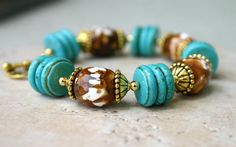 Brown+and+turquoise+bracelet+by+JewelryByLoriStave+on+Etsy,+$18.00