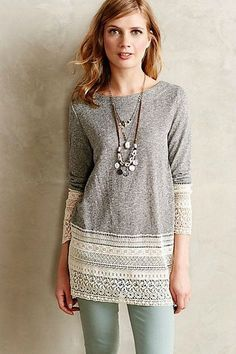 Add lace to lengthen body or sleeves of t-shirt - Recessed Lace Sweatshirt anthropologie