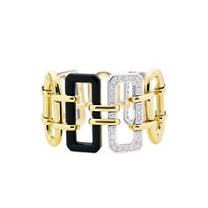 Chanel Première cuff in onyx, diamonds and white and yellow gold bracelet for women, $35,065