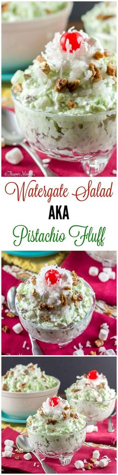 This Watergate Salad #SundaySupper, also known as Pistachio Salad, Pistachio Delight or Pistachio Fluff or Green Fluff, is a sweet, cool, crunchy dessert made with pistachio pudding, whipped topping, crushed pineapple, mini marshmallows, pecans and coconut. ~ http://FlavorMosaic.com