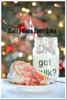 """Candy Cane Swirl Cake by """"The Idea Room"""" using her favorite white cake recipe from scratch..."""