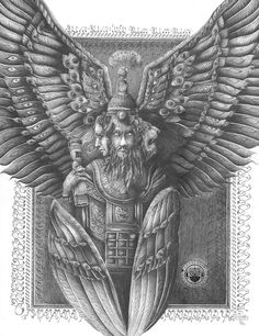 "Jonathan Guthmann ""Cherub from Ezekiel's Vision"" Tarot, Cherub Tattoo, Sphinx, Religion, Occult Art, Biblical Art, Angels And Demons, Real Angels, Dark Ages"