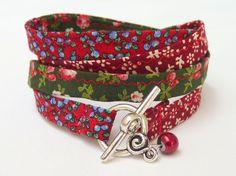 MILLEFLEURS  fabric wrap Bracelet with a small Bead  by nickelart