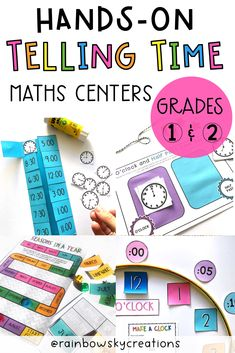 This Telling Time hands-on pack is designed to provide Grade 1 and Grade 2 students with fun, hands-on, differentiated activities for learning to tell the time (including o'clock, half past, quarter past and quarter to). #rainbowskycreations Primary Maths, Primary Classroom, School Resources, Learning Resources, Professional Development For Teachers, Teaching Math, Teaching Ideas, Telling Time, Elementary Math