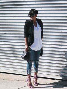 Distressed Jeans and Blazer  Jeans Citizen of Humanity Blazer:: Misguided, Shoes: Aldo Rise, Handbag: Givenchy Mini Pandora, White Tee:: Old  Kyrzayda