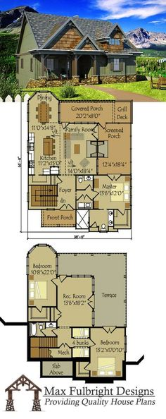 Cottage Plan with Walkout Basement Rustic cottage house plan with open living floor plan.Rustic cottage house plan with open living floor plan. Small Cottage House Plans, Small Cottage Homes, Cottage Floor Plans, Lake House Plans, Basement House Plans, Cottage Style Homes, Dream House Plans, Walkout Basement, Basement Layout