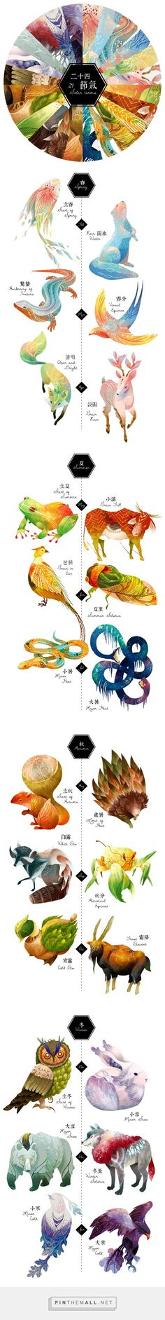 The 24 Solar Terms - Character Design on Behance - created via https://pinthemall.net Monster, Animal Drawings, Art Drawings, Graphic Design Illustration, Illustration Art, Illustrations And Posters, Creature Design, Gouache, Asian Art
