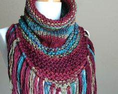 Chunky Scarf Knit Triangle Scarf Cowl with Fringe in by PhylPhil Chunky  Knit Scarves, Fall a72594e1ccd