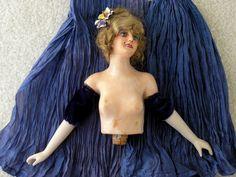 Vintage Wax Boudoir Half Doll with Wig