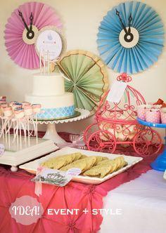 CINDERELLA party decor - Pleated Paper Pinwheel Clocks.